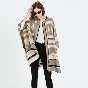 Zara Knot Tan Cream Oversized Poncho